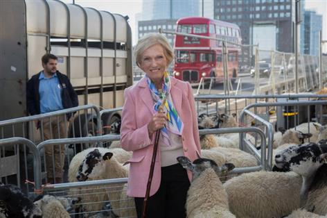 Mary Berry leads flock of sheep over London Bridge to promote wool industry