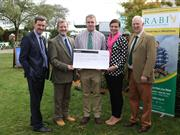 (L-R) Ken Nottage, Chief Executive of the Three Counties Society, Malcolm Thomas MBE, Chairman of RABI, Jack Walton, Becky Davies, RABI Regional Manager and Clive Roads, Livestock Auctioneer at McCartneys