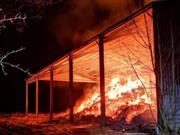 Devastating farm fire engulfs 1,000 hay bales