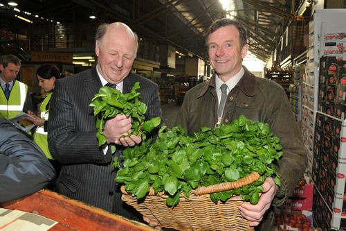 James Paice MP, Food and Farming Minister with Steve Rothwell of the Watercress Alliance