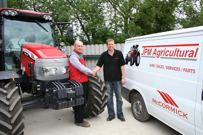 Let's shake on the deal: Marc Shepherd (left) and James Hunt have combined their businesses into a more effective and efficient dealership representing McCormick and a number of farm implement franchises in the north east of Lincolnshire.