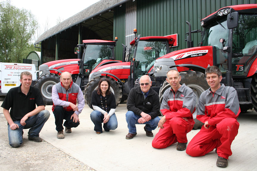 The new McCormick team at JPM Agricultural (from left): James Hunt; sales manager Marc Shepherd; Lauren Hunt (James' wife); parts manager Phil Parish; and service technician's Barry Lowis and Philip Hunt.