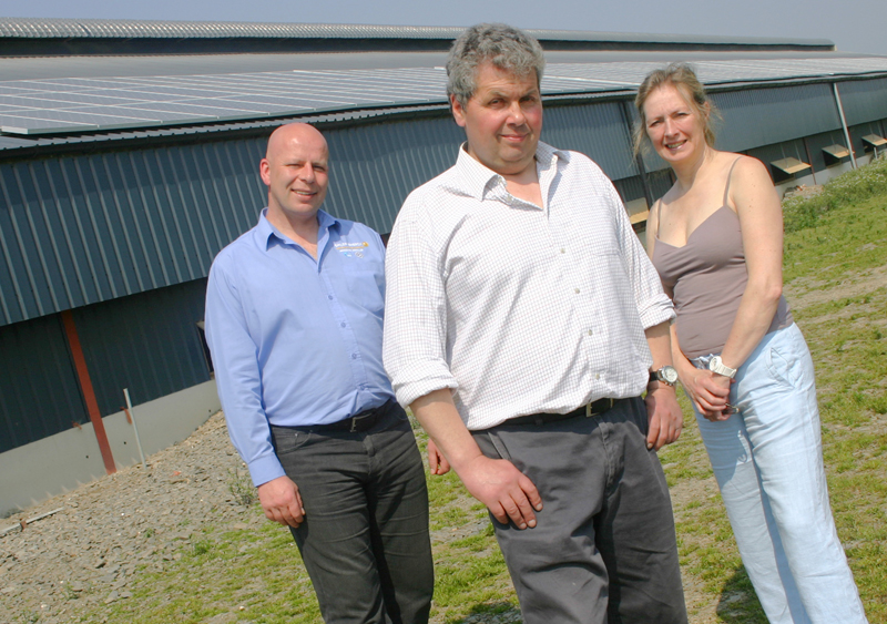 (left to right): Gareth Jehu, director, Salop Energy, David Sockett, owner, Upper House Farm, Mandy Stoker, director, E4environment