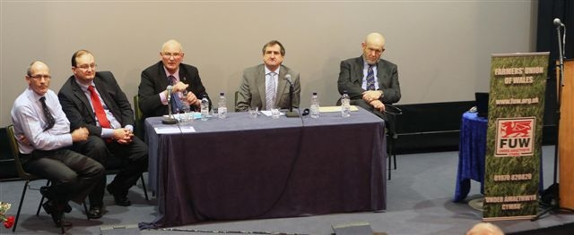ANY QUESTIONS: FUW president Emyr Jones (second from right) chairs the question and answer panel of speakers (from left) James Severn, Duncan Montgomery, Stuart Agnew and Prof Chris Pollock.