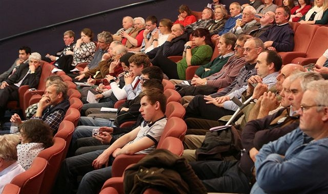 YOUNG ENTRANTS: Agriculture students (second row from left) from Gelli Aur College, near Llandeilo, in the conference audience.