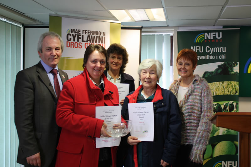 NFU Cymru Deputy President Stephen James, Wales Woman Farmer 2013 winner Doris Jones, runners up Penny Chantler and Anne Astington, and Pat Ashman of Principality Building Society, which sponsored the competition