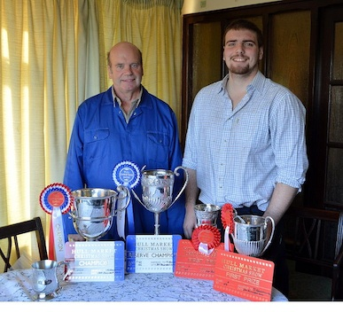 Ian Broumpton (left) with his son, Daniel, with the trophies they picked up at Hull Market Christmas Show and Sale.
