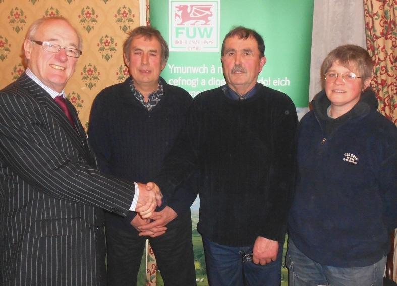 COMMISSIONER CALLS: Winston Roddick (far left) with FUW Meirionnydd president Dafydd T Ellis, vice chairman Owain Gwilym Thomas and chairman Olwen Ford.
