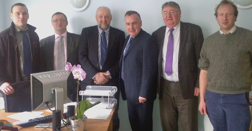 From left, FUW Brecon and Radnor county executive officer Aled Jones, William Powell, Brian Bowen, Mark Williams, Roger Williams and FUW director of policy Nick Fenwick.