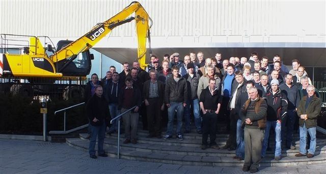 Gwent FUW members and friends outside JCB's Rocester factory.