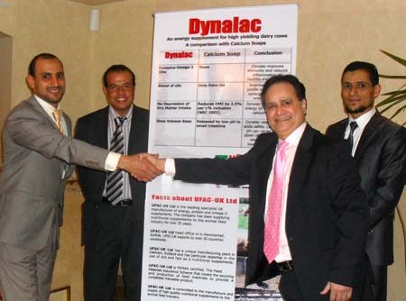 (l to r) Dr Fatouh and Dr Hany, of Unitrade Egypt, with Ufac director, Vijay Nigdikar, and Dr Medhat, CEO of Unitrade at the product launch in Cairo