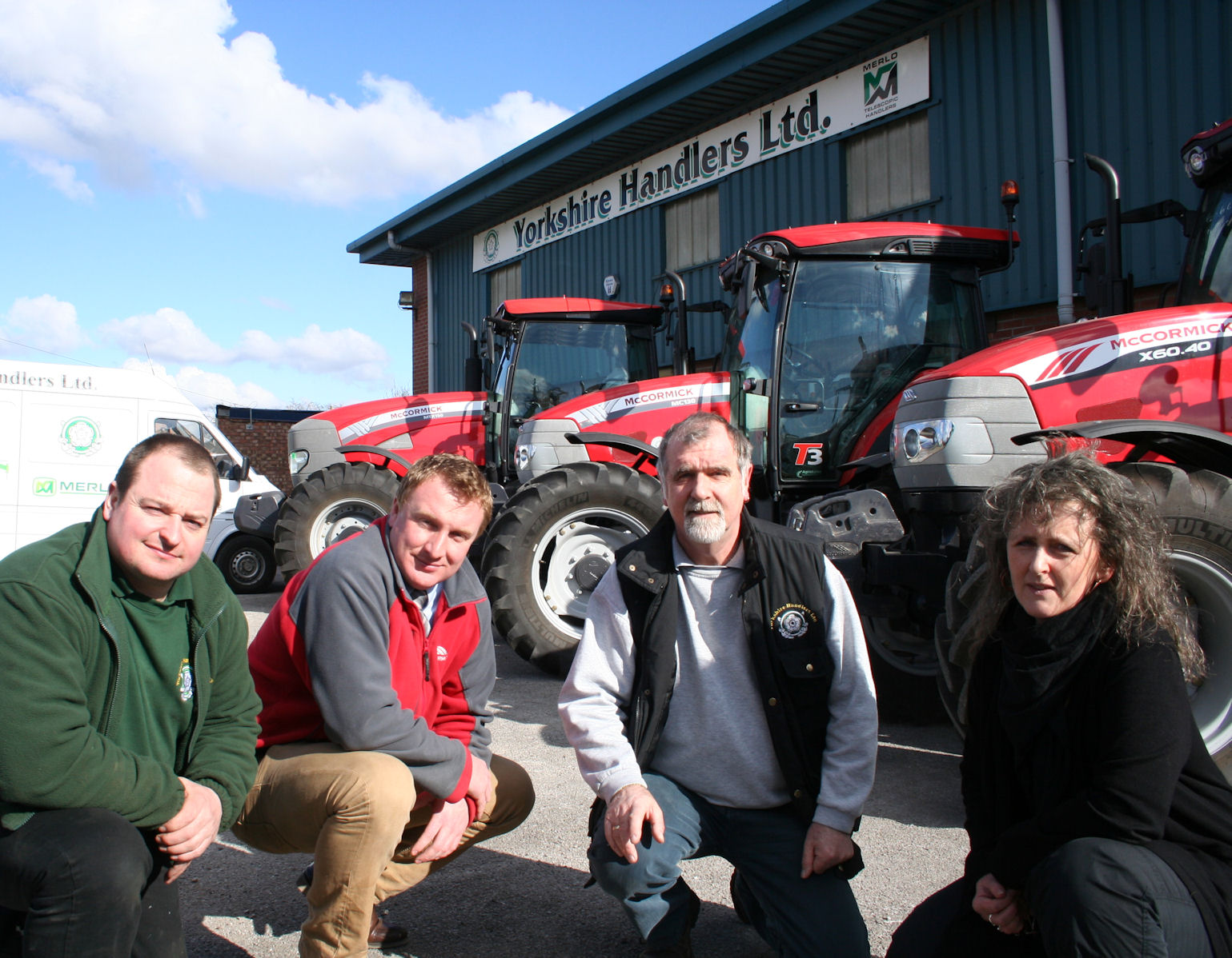 Phil and Rhonda Robinson (right) of new McCormick sales and service support dealer Yorkshire Handlers, Murton near York, with Lee Richardson, service manager (left) and Phil Maw of McCormick distributor AgriArgo UK.
