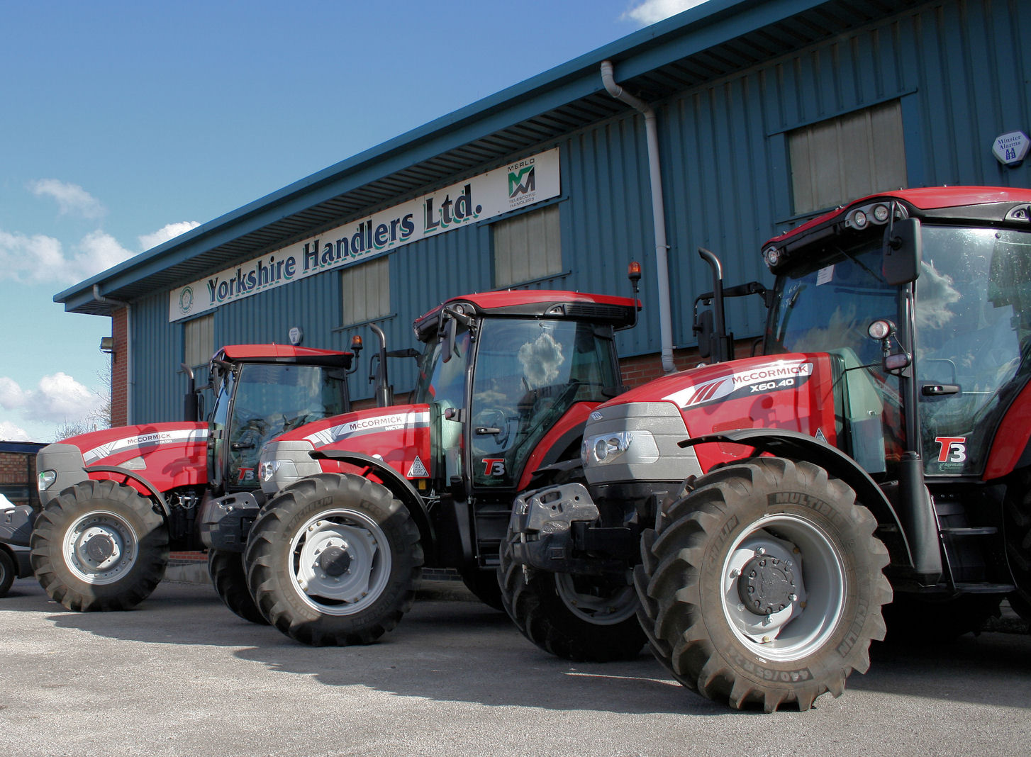 A line-up of new McCormick tractors at the Murton premises of new sales and service support dealer Yorkshire Handlers.