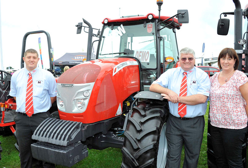 A family concern – Jonathan (left) with his parents Sue and Bryan Hoggarth and the new McCormick X50 tractor, the first of several new ranges being introduced over the next two years.