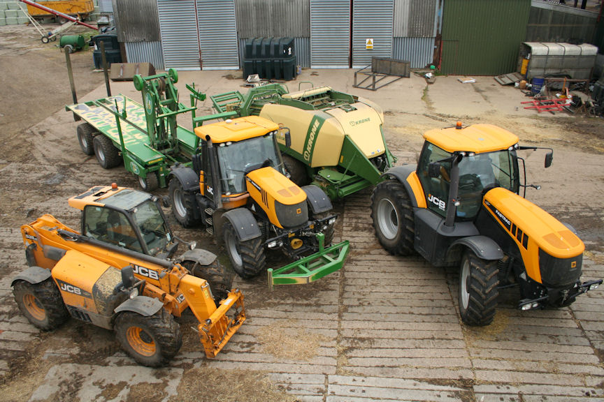 Bale crew - Fastracs for baling and chasing, Loadall for handling, stacking and loading.