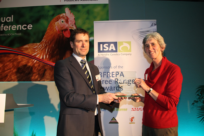 Ann Herbert, who began producing eggs for Daylay in 1990, received the award for producers with more than five year's experience in free range