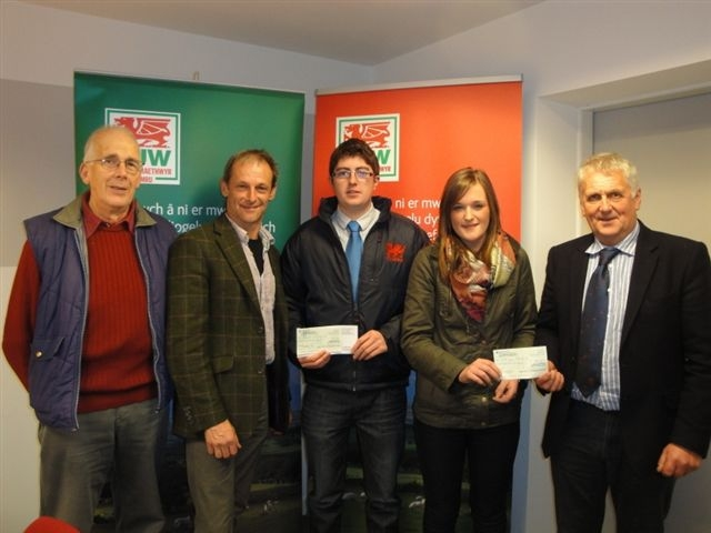 James Price and Kathryn Morris with the bursary judges (from left) FUW council's Pembrokeshire delegate Dafydd Williams, Alun Edwards and FUW deputy president Glyn Roberts.
