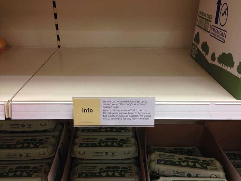 Sainsbury's produced notices warning of Organic egg shortages