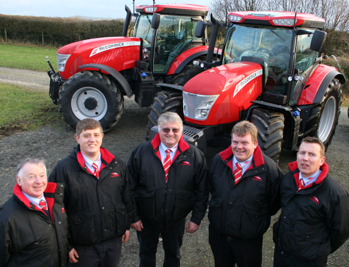 The sales team with the first McCormick X7 Pro Drive tractors seen in Britain (from left): Alan Robinson, Jonathan Hoggarth, Bryan Hoggarth, Murdo Macphee and Adam Graham, who also looks after the Hog Hire tractor hire fleet.
