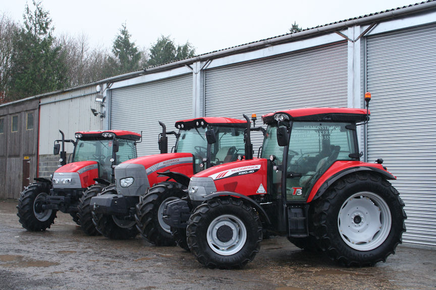 A line-up of McCormick tractors outside the refurbished workshop, parts store and offices occupied by new south Somerset dealer M Baker Engineering Ltd.