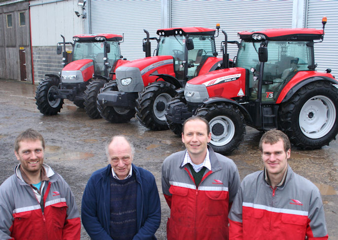 Mark Baker (second from right) works alongside trained technicians Ali Haine (left) and Mark Wareham (right), and parts storesman Dave Fox.