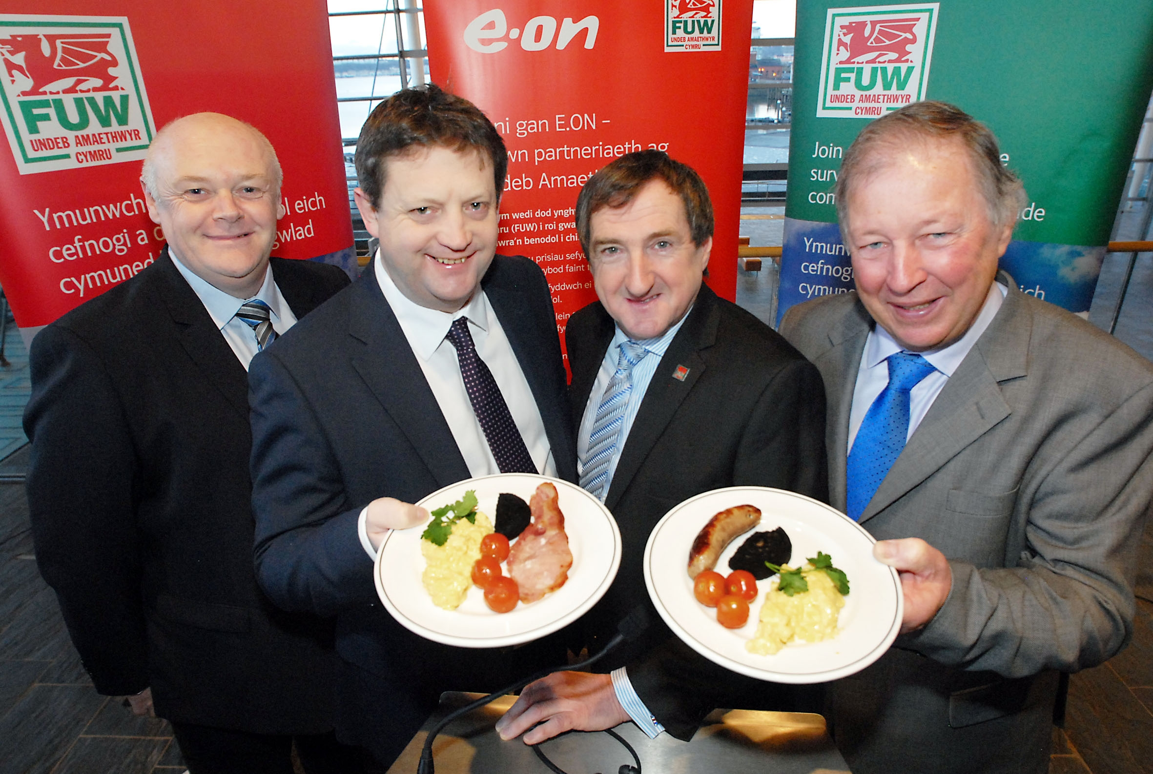 WELSH BREAKFAST: FUW president Emyr Jones (second from right) with (from left) sponsors' representatives E.ON's David Foode, natural resources and food minister Alun Davies and Hybu Cig Cymru chairman Dai Davies.
