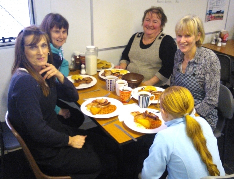ENJOYING: The cooks at Bryncir Mart's Anne's Cafe after feeding over 60 people during last year's FUW Farmhouse Breakfast.