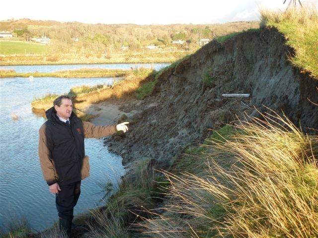 FLOOD DEFENCES: Emyr Jones on the site of the breach at Llanbedr, near Harlech.