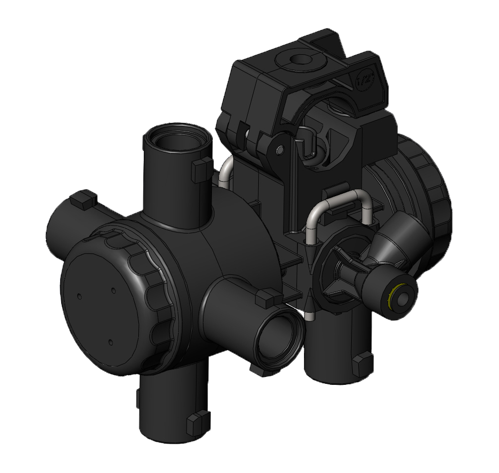 The new Hypro body assembly provides easy switching between different nozzles.