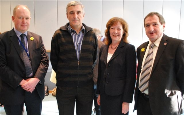 From left, Dr Robert Parry, Basque Region MEP Inaki Irazabalbetia, Jill Evans and FUW president Emyr Jones.