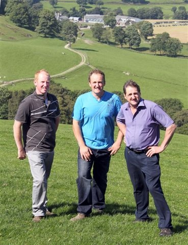 FAMILY FARM: Emyr Jones (right) with his sons Aled (centre) and Dylan on the family farm near Bala.