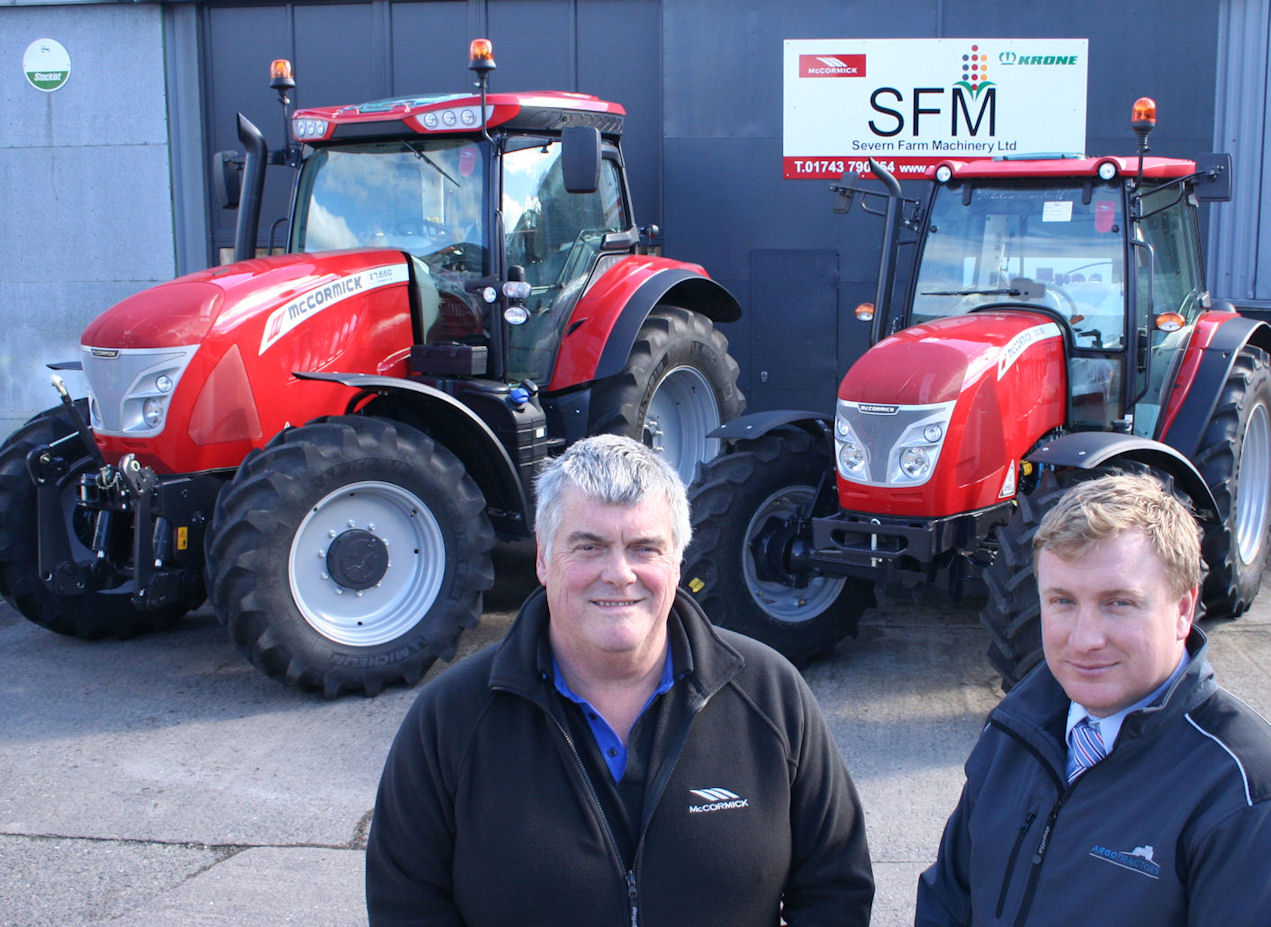 Chris Willner (left) of Severn Farm Machinery with Phil Maw, area sales manager at McCormick distributor AgriArgo UK.