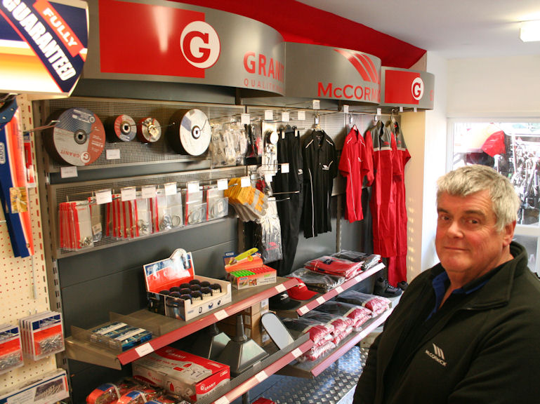 Chris Willner with the McCormick Granit parts and accesories display in the new retail shop.