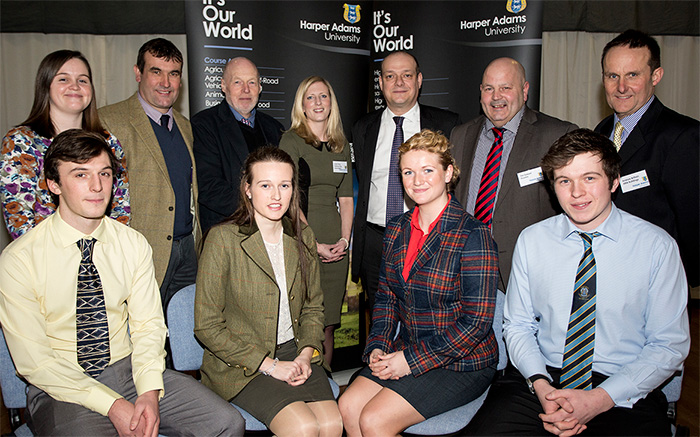 The four scholars (front, L-R), Tom Oates, Lauren Turner, Josie Hatch and Sam Stephenson, with representatives of the sponsoring companies, BPEX and the National Pig Association.