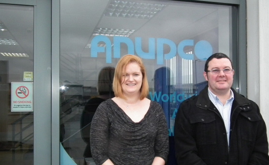 Samantha Thompson, Anupco's area sales manager, and Daniel Pujante Maher, general manager