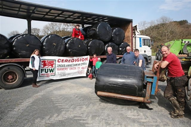 COLLECTION POINT: Caryl Wyn-Jones (furthest left), Ieuan Evans (on the lorry), children Alun Eifion Wyn Roberts and Ynyr and Bedwyr Jenkins, farmers Dafydd Jenkins, Dafydd Jones and Aled Owen, and Cefin Evans (furthest right).