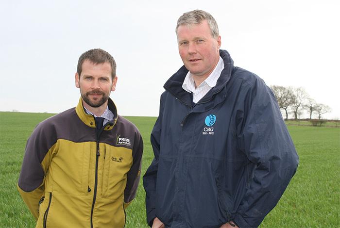 Bill Barr and farmer Giles Benson