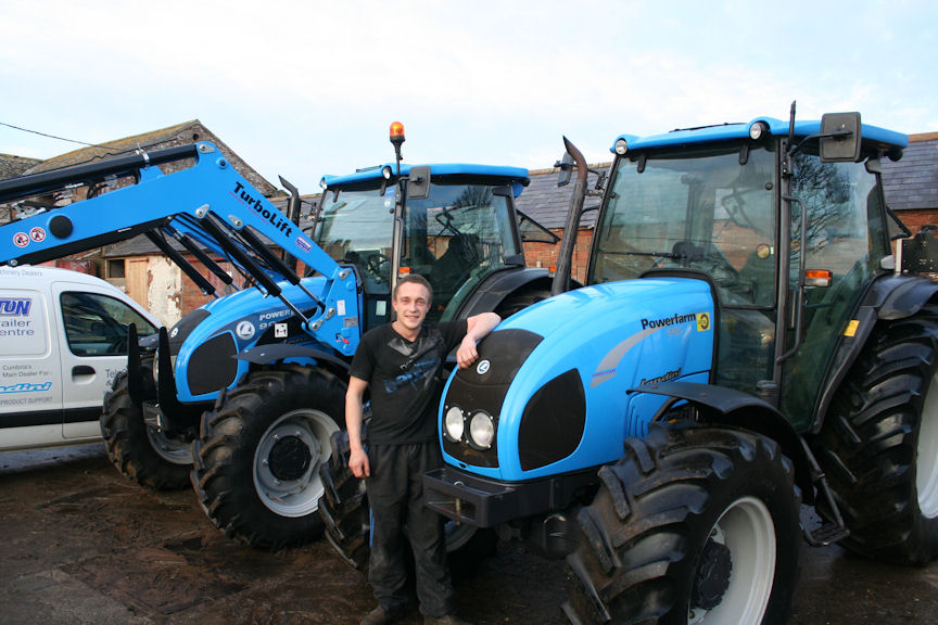 Will Hornsby with his two Landini Powerfarm tractors that handle all duties at Rose Farm.