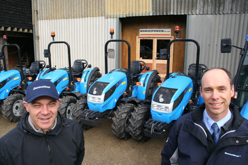 Phil Stanford (left) with Steve Cann, southern area sales manager at Landini distributor AgriArgo UK soon after Horsepower UK moved into the new premises at Selling near Faversham, Kent.