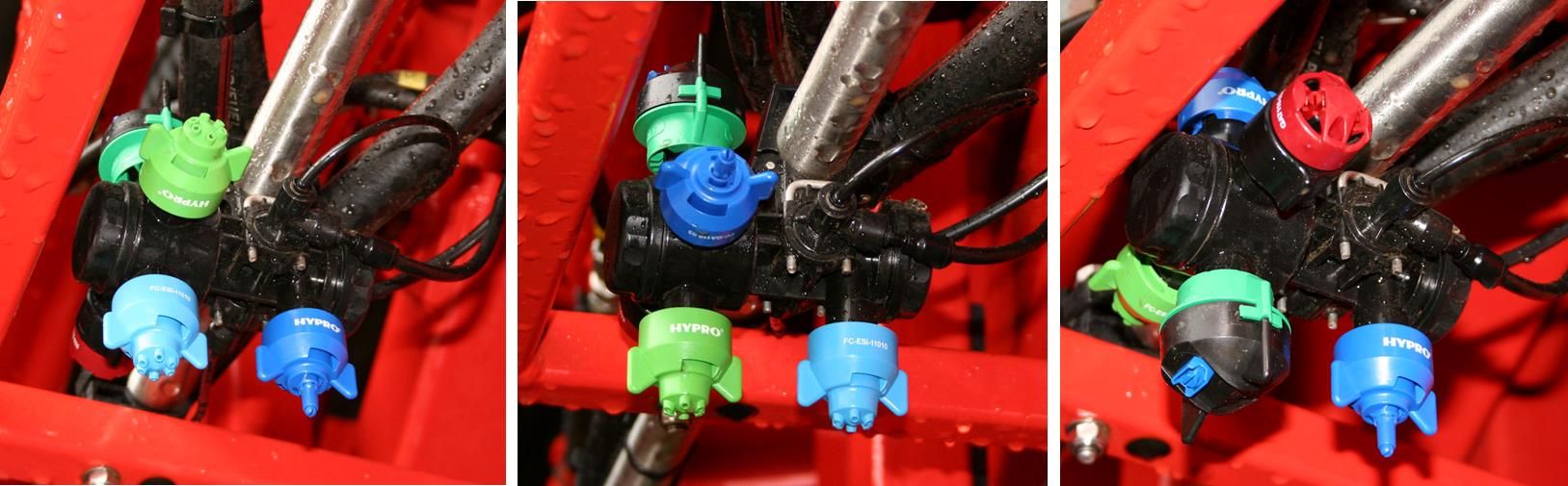 The Hypro Duo React body with different nozzle combinations including ESI six-stream fertiliser nozzle, Guardian Air low-drift and VPTech angled flat fan.