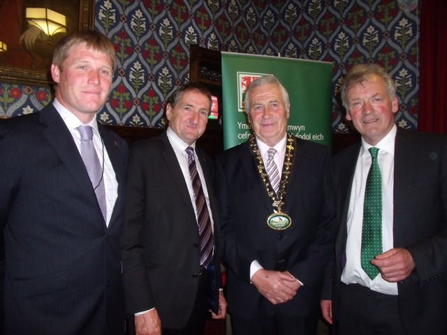 MONTGOMERYSHIRE DAY: From left, Mark Williams, FUW president Emyr Jones, Powys County Council chairman Roche Davies and Glyn Davies.