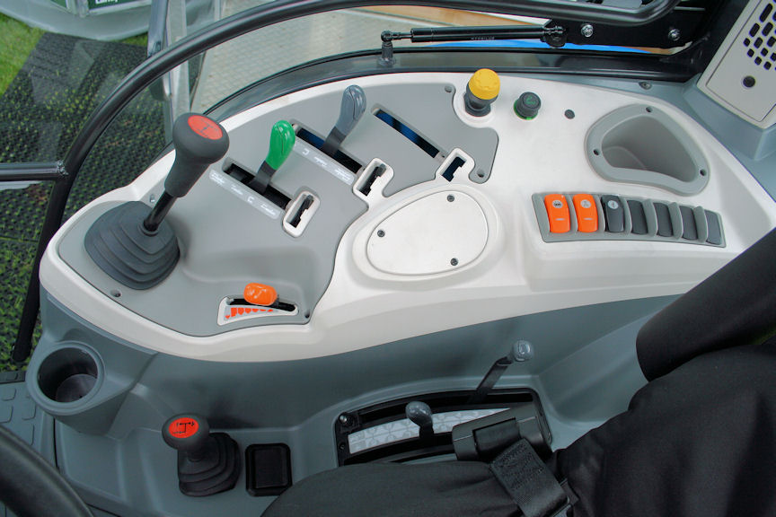 Buyers of the new Landini 4 Series can choose simple mechanical control of the three-point linkage (pictured) or a more sophisticated electronic system. Hydraulic remote valve levers are set at a comfortable angle.