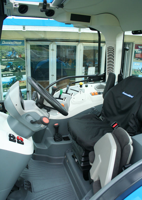 Inside view of the spacious four-post cab on the new Landini 4 Series reveals the stylish design and high standard of materials used.