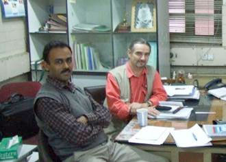 Dr Keith Davies from University of Hertfordshire (right) and Dr Sharad Mohan from Indian Agricultural Research Insitute (left)