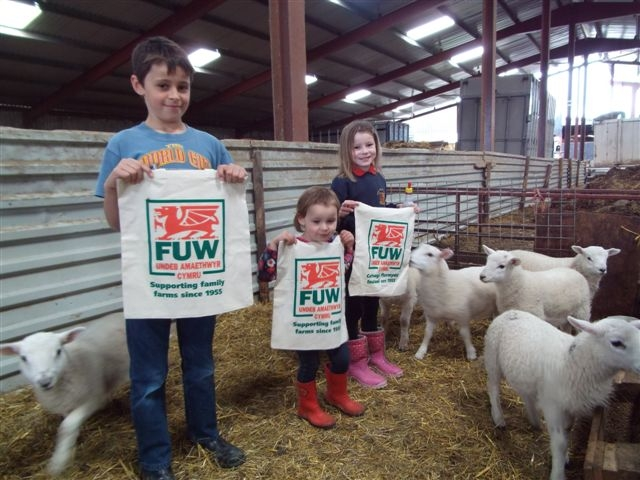 "Eleven-year-old Aneurin Rowlands and his sisters Martha (7) and Elan (3) of Rhosgoch Farm, Capel Dewi, near Aberystwyth, proudly displaying reusable ""Supporting Family Farms Since 1955"" cotton bags."