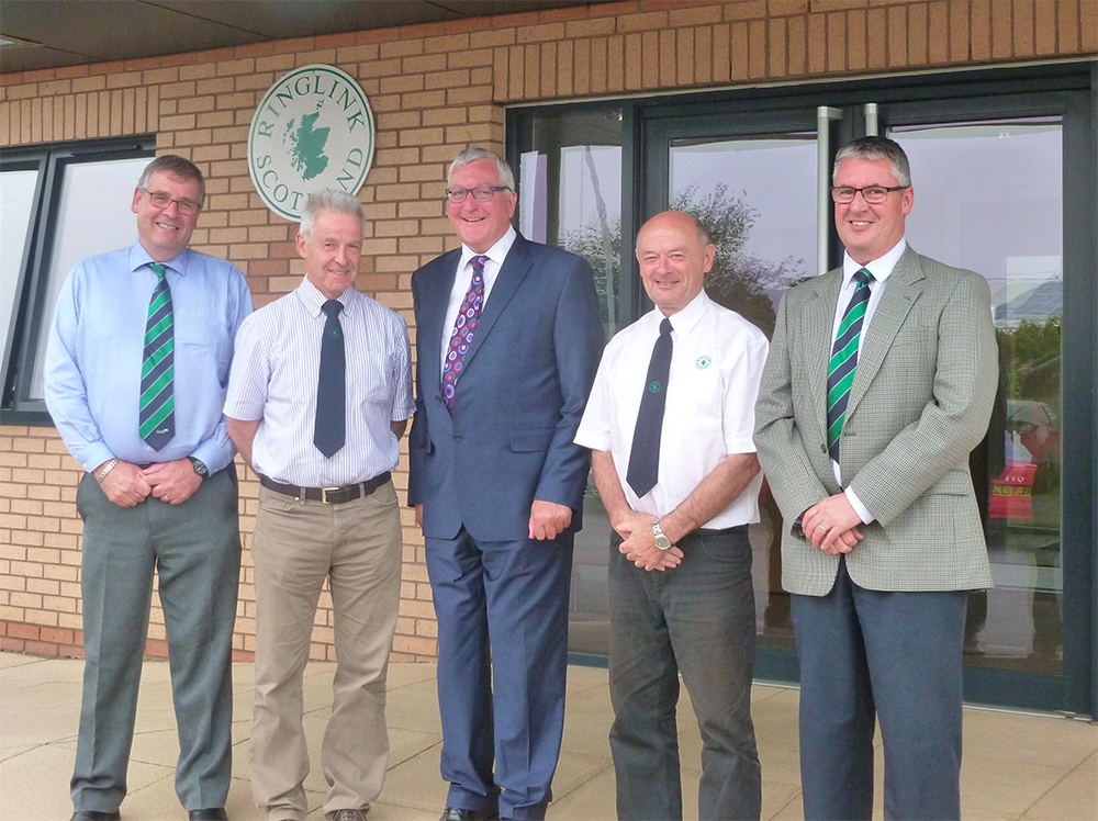 Left to right: SAOS Chairman, George Lawrie; Ringlink Chairman , Andrew Moir; Cabinet Secretary, Fergus Ewing; Ringlink MD, Graham Bruce; and Grampian Growers MD, Mark Clark