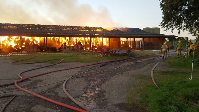 Eleven fire crews tackle 'huge farm fire' in Dorset