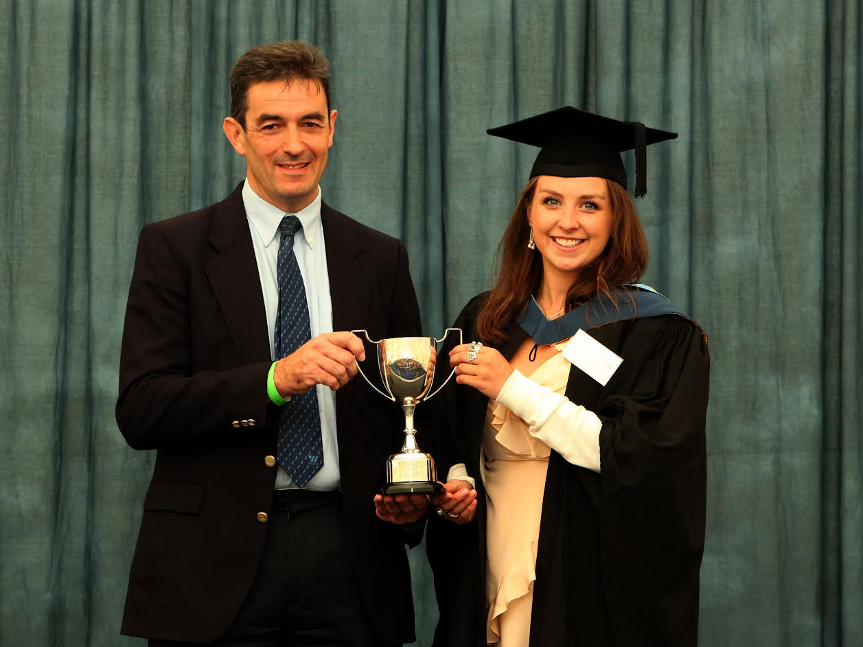 Rosie McGowan, who graduated with a 1st class BSc Agriculture with Animal Science degree, won a £100 prize