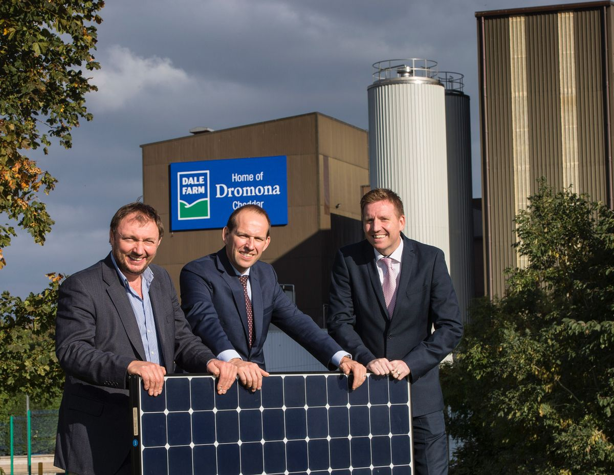 Pictured at the annoucement is Chief Executive of CES Energy, Tom Marren alongside Group Chief Executive of Dale Farm Nick Whelan and Dale Farm Group Operations Director, Chris McAlinden