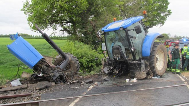 The accident happened in 2015 when a passenger train hit the tractor at a level crossing near Flaxby in North Yorkshire (Photo: British Transport Police)